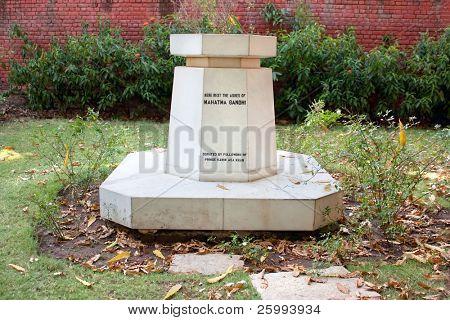 Memorial stone of Gandhi ashes , Aga Khan Palace, Pune, Maharashtra, India