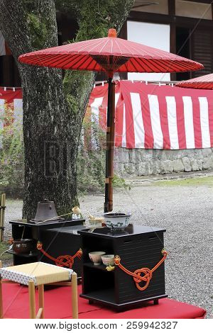 Japanese Green Tea Ceremony At Garden, Tableware And Objects For The Tea Ceremony