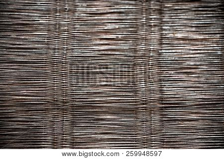 Wickerwork Or Basketwork Painting With Black Color. Closeup Texture And Pattern Background.
