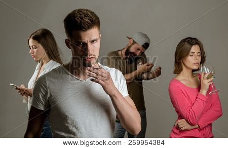 Addictive group including alcohol cigarettes and drugs. Stop smoking addiction. Human physiology concept. The Most Popular Social Issues. Using cigarettes poster