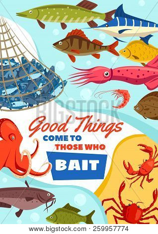 Fishing Club, Catching Fish By Bait Vector. Seafood Squid And Octopus, Crab And Shrimp, Carp Fish Ma