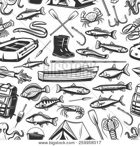 Fish And Fishing Gear Monochrome Seamless Pattern. Inflatable And Wooden Boats, Rod, Hook, Boots And