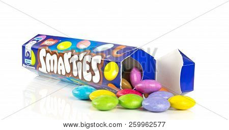 Niedersachsen, Germany September 25, 2018: A Tube Of Nestle Smarties Chocolate Sweets On A White Bac