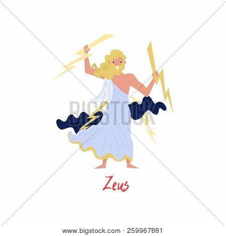 Zeus Supreme Olympian Greek God, Ancient Greece Myths Cartoon Character Vector Illustration On A Whi