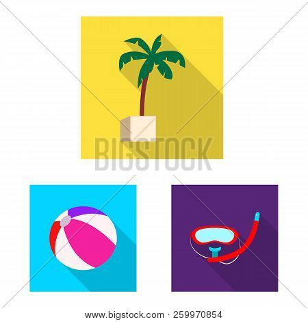 Vector Illustration Of Pool And Swimming Symbol. Collection Of Pool And Activity Vector Icon For Sto