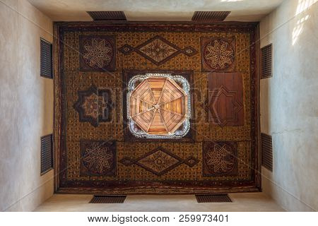 Cairo, Egypt - September 15 2018: Ottoman Era Decorated Wooden Ceiling With Floral Pattern Decoratio