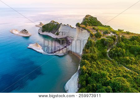 Beautiful View Of Cape Drastis In The Island Of Corfu In Greece