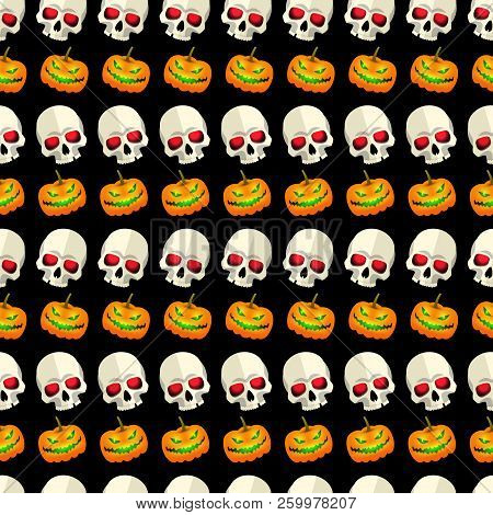 Halloween Seamless Pattern Striped Design With Skulls And Pumpkins Faces Cartoon Icons On Black Back