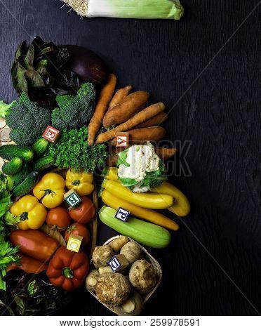 Organic Vegetables Rich In Vitamin As A, B, C, D, P, E, Free Space Fot Text