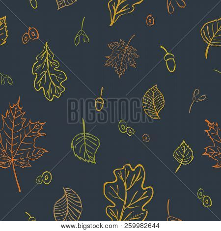 Vector Seamless Background With Elm, Maple, Birch, Oak Leaves, Seeds And Acorns For Cute Fabric Desi