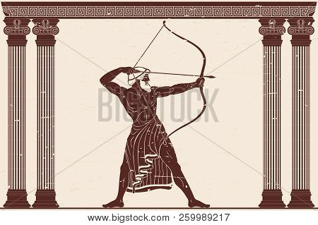 The Hero Of The Ancient Greek Myths Odysseus. Warrior With A Weapon In The Temple Between The Column