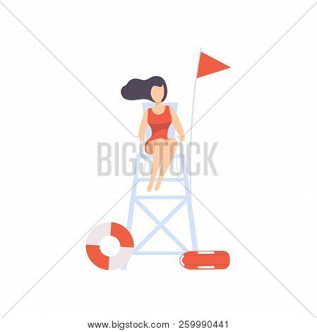 Female Lifeguard Sitting On Lookout Tower, Professional Rescuer Character Working On The Beach Vecto