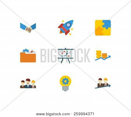 Technology Partnership Icons Set. Successful Partnership And Technology Partnership Icons With Finan