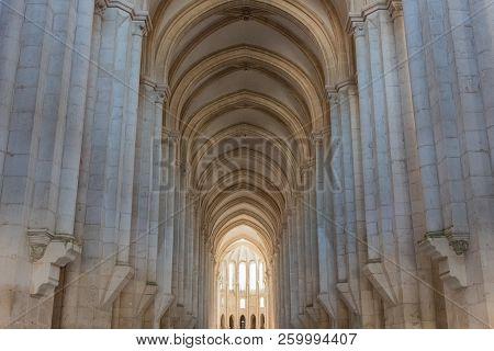 Alcobaca, Portugal - September 22, 2018 : Details Inside The Monastery Of Alcobaca Leiria District,