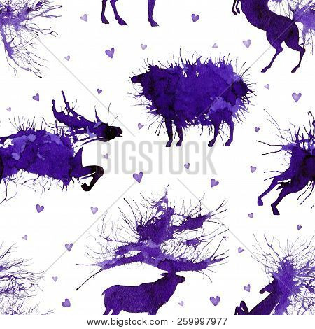 Hoofed Animals. Deer, Wild Bull, Sheep And Horse On The Background With Hearts. Natural Cliparts.