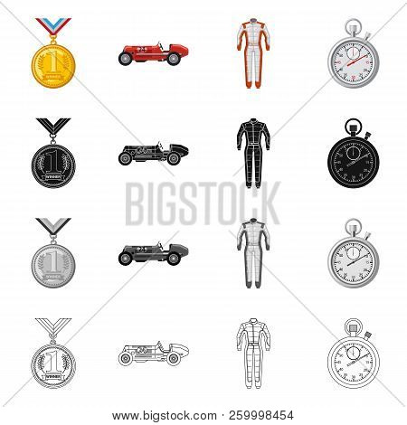 Vector Design Of Car And Rally Icon. Set Of Car And Race Stock Symbol For Web.
