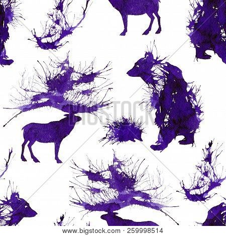 Wild Forest Animals. Bear, Deer, Hedgehog And Branch. Natural Cliparts.
