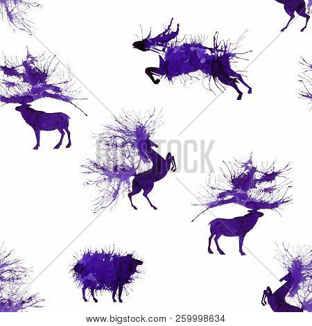 Hoofed Animals. Deer, Wild Bull, Sheep And Horse. Second Version. Natural Cliparts.