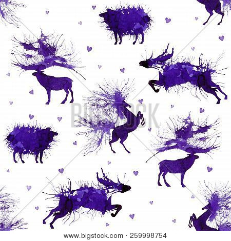 Hoofed Animals. Deer, Wild Bull, Sheep And Horse On The Background With Hearts. Third Version. Natur