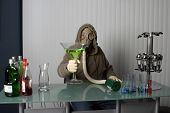"""bartender in a gas mask, name your poison concept """"gas masked"""" bartender fixes You the viewer up a Giant Apple Martini or is it poster"""