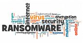 Ransomware virus - compromised computer security concept. Word cloud. poster