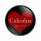 I Love Calculus button, A black and red button with word Calculus and an equation and a heart isolated on a white background 3D Illustration poster