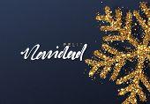 Christmas background with Shining gold Snowflakes. Spanish text Feliz Navidad poster