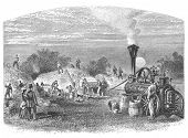 Agriculture in Dakota, USA: Threshing. Image source: Harper's Monthly magazine march 1880. poster