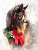 Dreamy Christmas image of a dark bay Arabian horse wearing a wreath and a bow poster