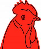 drawing of a rooster for a farm icon poster
