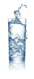 Single Glass Of Water With Ice And Splash Isolated On White Background