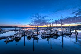 Maine Marina At Sunrise - Freeport, Maine, Usa