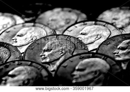 Silver coins of American USA money monetary for wealth and riches