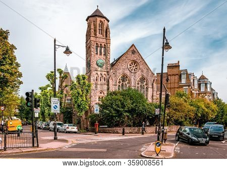 London / Uk - September 16 2018: View Of Saint Joseph Roman Catholic Church, In Cromwell Ave, Highga