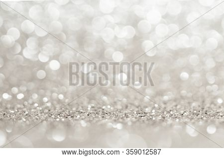 Abstract Light Grey Colors De Focused Circular Background. Night Light Or Season Greeting Background