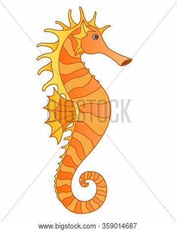 Golden-orange Cute Seahorse In Cartoon Style - Ocean Dweller - Vector Full Color Picture. Fish Seaho