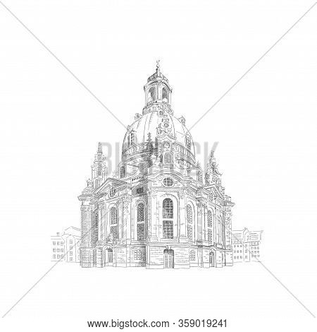 Frauenkirche, Church Of Our Lady In Dresden, Germany. Black And White Drawing Sketch. Illustration