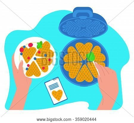 Vector Flat Illustration Waffle Iron, Hands That Prepare And Hold Plate Of Waffles And Berries. Ther
