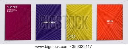 Radial Lines Halftone Grid Covers Vector Set. Abstract Brochure Title Page Layouts. Notepad, Magazin
