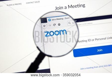 Montreal, Canada - March 22, 2020: Zoom Official Website And Logo. Zoom Communications Is Remote Con
