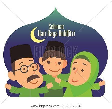 Selamat Hari Raya Aidilfitri. Cartoon Muslim Family Character With Malay Traditional Costumes Celebr