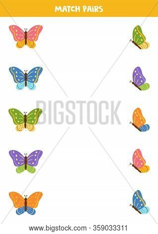 Match Pictures Of Butterflies By Pairs. Educational Game For Kids.