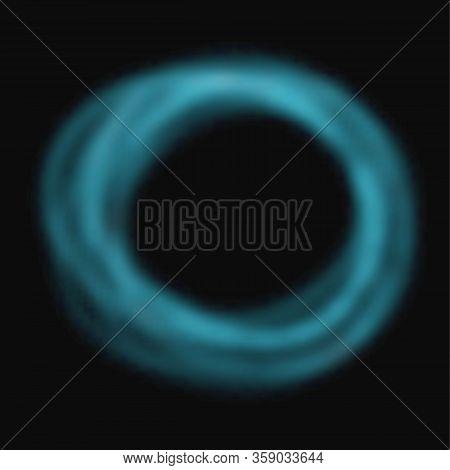 Vector Blue Smoke Circle Frame. Foggy Transparent Effect On Black Background.