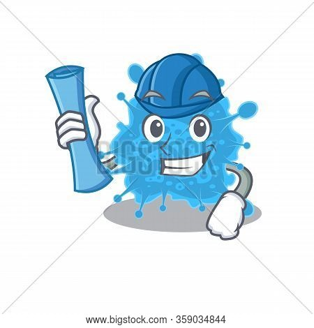 Cartoon Character Of Andecovirus Brainy Architect With Blue Prints And Blue Helmet