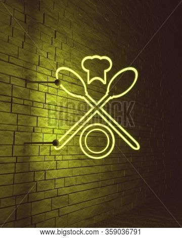 Spoon And Cooking Hat Restaurant Icons. Emblem Cafe And Restaurant. 3d Rendering. Neon Bulb Street S