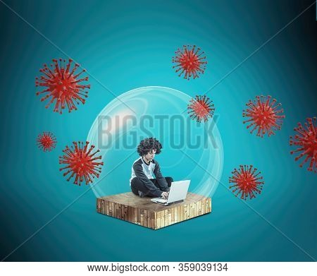 Social Distancing And Self-isolation During Corona Virus Quarantine. Work From Home Concept . Man Wo