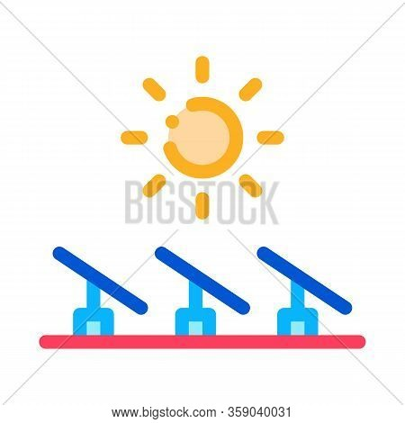 Several Solar Panels Icon Vector. Several Solar Panels Sign. Color Contour Symbol Illustration