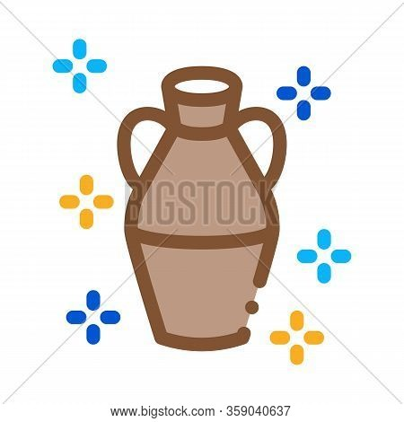 Finished Clay Vase Icon Vector. Finished Clay Vase Sign. Color Contour Symbol Illustration