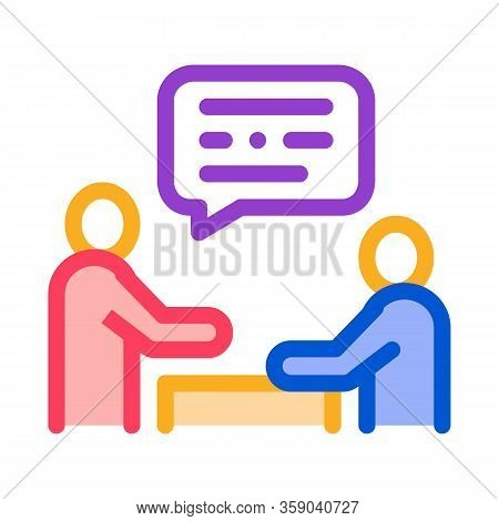 Dialogue Of Two People Icon Vector. Dialogue Of Two People Sign. Color Contour Symbol Illustration