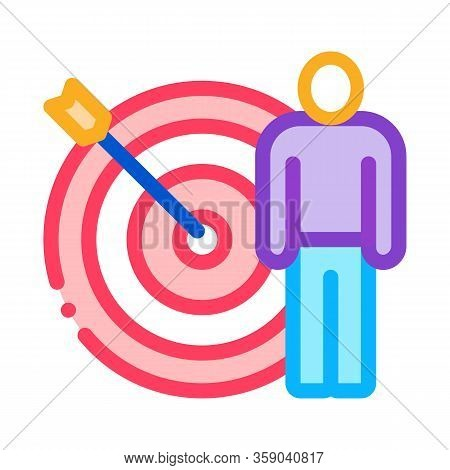 Target Hit Icon Vector. Target Hit Sign. Color Contour Symbol Illustration
